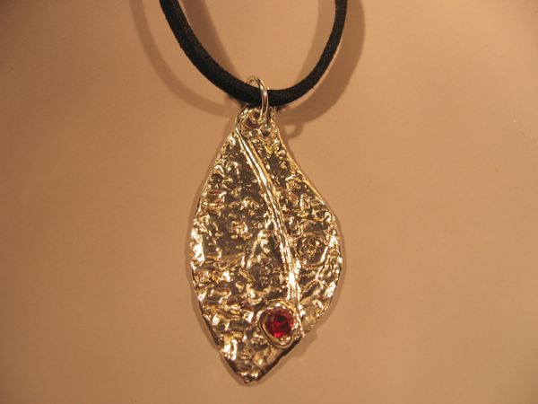 Ruby Leaf Pendant